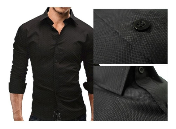 Camisas Entalladas Slim Fit Negro