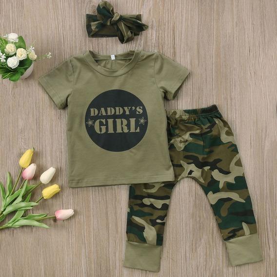 Roupas De Bebe Menina Conjunto Camuflado Camiseta Calça Laço