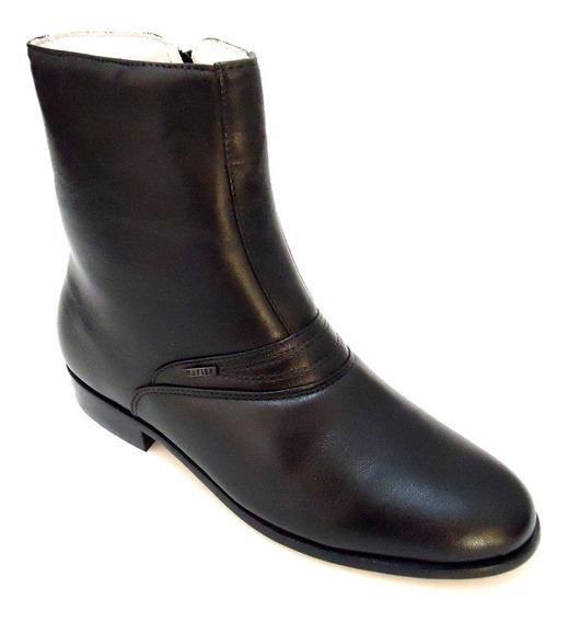 Bota Sapato Masculino Social Couro Cano Médio Com Zíper