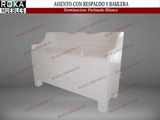 Asiento Con Respaldo Y Baulera Baul De Madera 1.00 Patinado