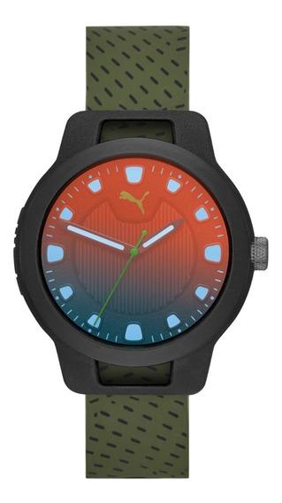 Reloj Caballero Puma Reset V1 P5011 Color Verde De Silicon