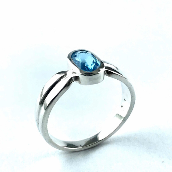 Anel Solitário Topazio Azul Natural 5x7 Mm Prata 925 (03-1)