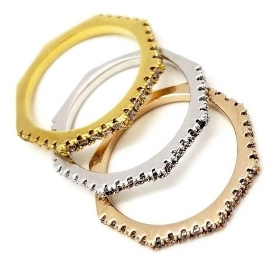 Kit 3 Anéis Meia Alianças Cravação Zirconias Banho Ouro 811