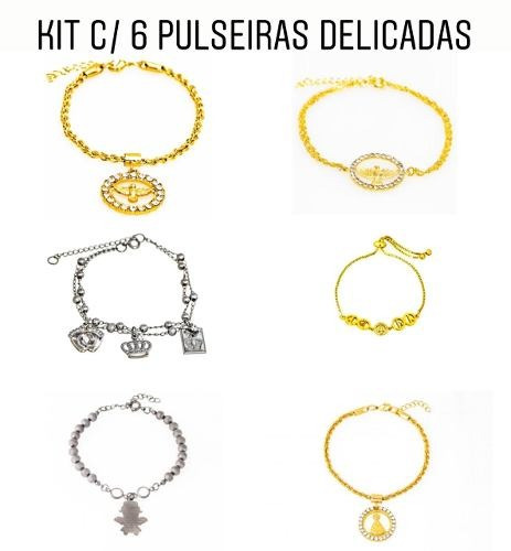 Kit Com 6 Pulseiras Delicadas - Kt53 // 6,90 Cada