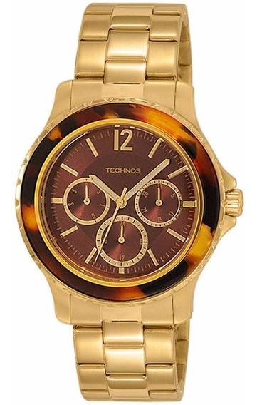 Relógio Technos Dourado Feminino Lindo 6p29ih/4m +frete