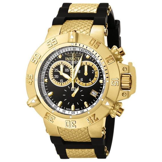 Lindo Relógio Invicta 5514 Dourado Preto Original Subaqua