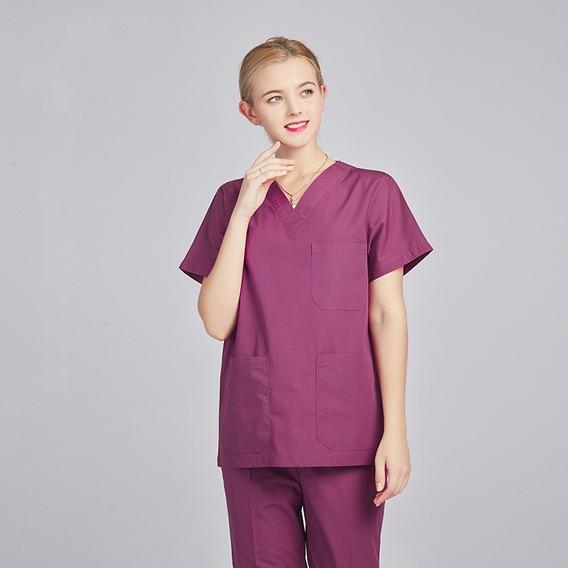 Conjunto De Uniforme Unisex Pantalon Y Filipina 12 C Violet