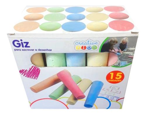 Imagem 1 de 3 de Giz Gizão Grande Infantil Colorido Escolar Desenhar Parede