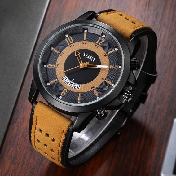Relógio Masculino Promoção Couro Pronta Entrega Barato Luxo