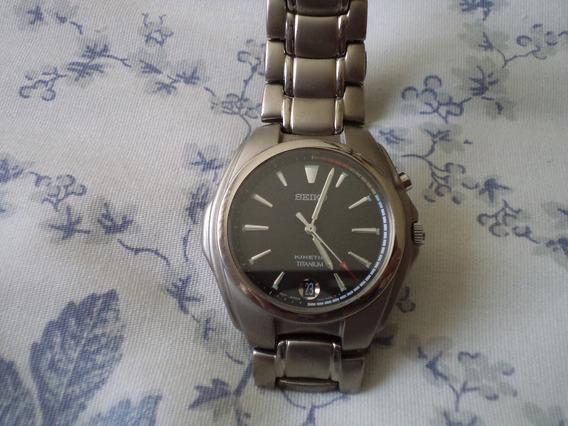 Reloj Seiko Kinetic Titanium 5m42-0e90 5 Bar Wr C. Safiro
