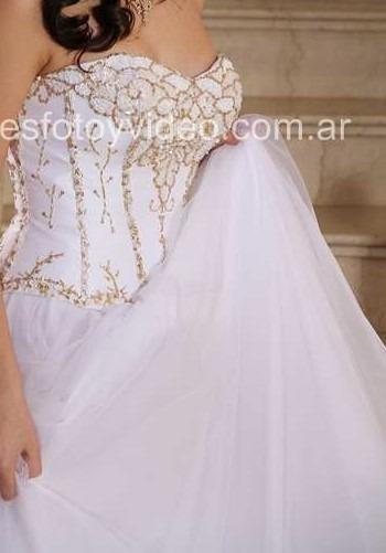 Vestido Fiesta - 15 - Blanco C/dorado