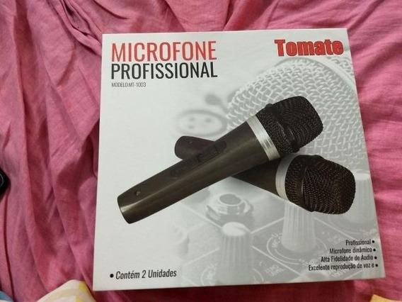 Microfone Profissional Com Fio Duplo Tomate Mt-1003