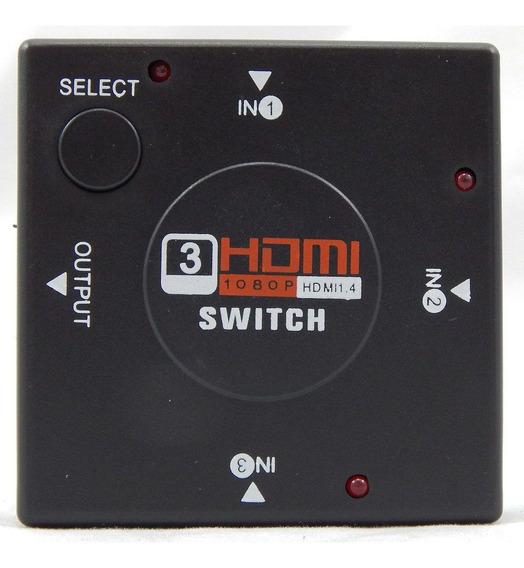 Chave Seletora Switch Hub Hdmi 3 Entradas 1 Saída Barato