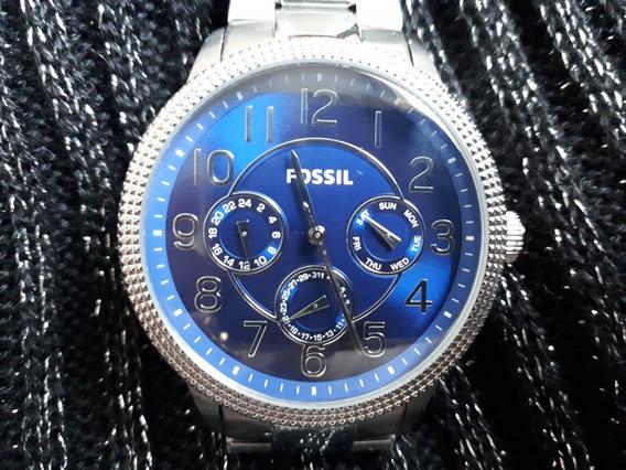 Relógio Original Fossil Prata Com Fundo Azul Safira