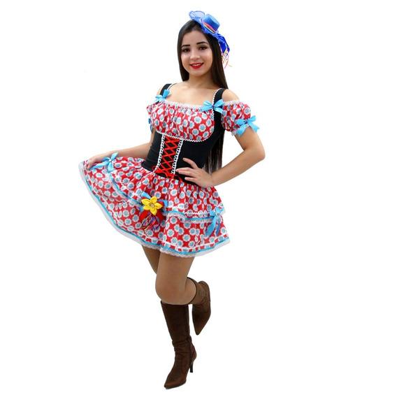 Vestido Festa Junina Caipira Quadriha Adulto Junino Corpete