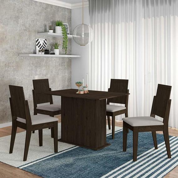 Conjunto Sala De Jantar 4 Cadeiras Imbuia Catar - Moveis Arapongas Imbuia/creme 02
