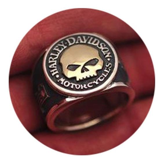 Anel Harley-davidson One Em Prata Com Detalhe Em Ouro 18k