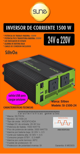 Energía Solar Inversor Onda Modificada 24v 1500w