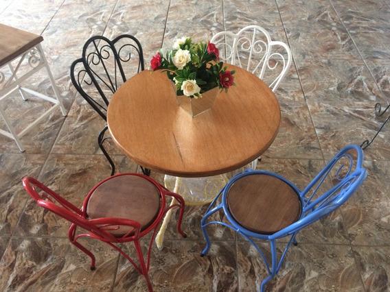 Kit De Mesa E 4 Cadeiras Rústicas Kids Em Ferro/madeira
