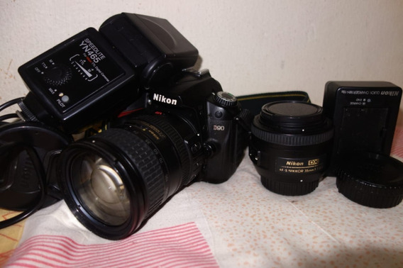 Nikon D90+lente 35mm+18-200mm+flash Yn475 Ttl 66k
