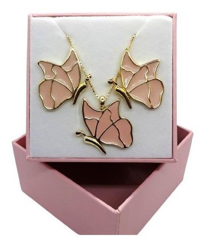 Imagem 1 de 5 de Conjunto Borboletas Rosa Banhado A Ouro 18 K Pinkcat