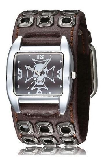 Relógio Bracelete Punk Masculino Pulseira Em Couro Caveira