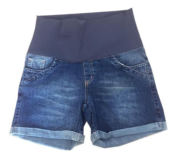 Bermuda Jeans Gestante Azul Tradicional Gravida Fashion