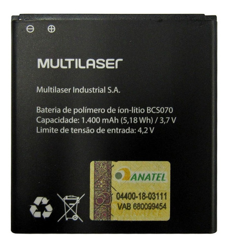 Bateria Multilaser Ms40g Bcs070 P9070 P9071 Encaixe Perfeito