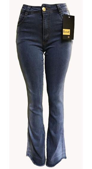 Calça Jeans Cinza Flare Feminina Cintura Alta Hot Pants Nova