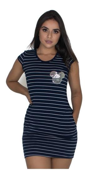 Vestido Curto Manguinha Listrado Feminino Bolso Pet Moda 168