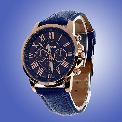 Cinto De Couro Casual Quartz Watch Royal Blue