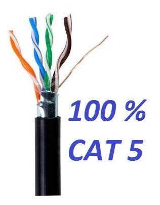 Cable Utp Ftp Cat 5 Intemperie Negro 100 % Cobre