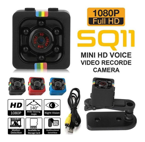Camera Espiã Visão Noturna Sq11 Com Sensor De Movimento