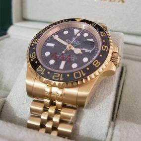 Relógio Dourado 40mm Automático Safira Inox + Caixa Verde