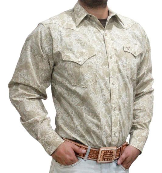 Camisa Para Hombre De Manga Larga Tela Ajustada Con Estampado Y Botones De Rodeo Carte
