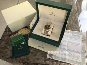 Rolex Dourado Daydate Presidente Preto Com Caixa Documentos