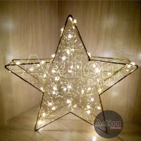 Luminária Estrela Dourada Arame 50 Leds Bivolt