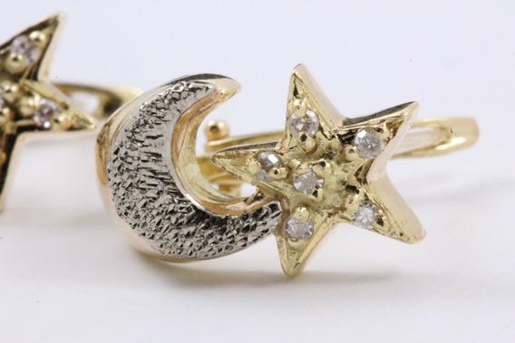 Brinco Ouro 18k Diamantes Lua E Estrela