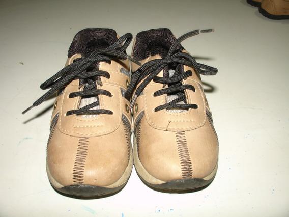 Menino Sapato Sapatenis Marrom Cadarço Tompe Tamanho 23