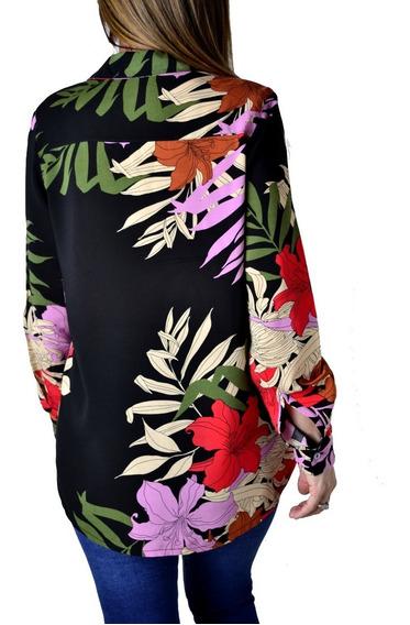 Camisa Negra Floreada Flores Estampada Mujer The Big Shop