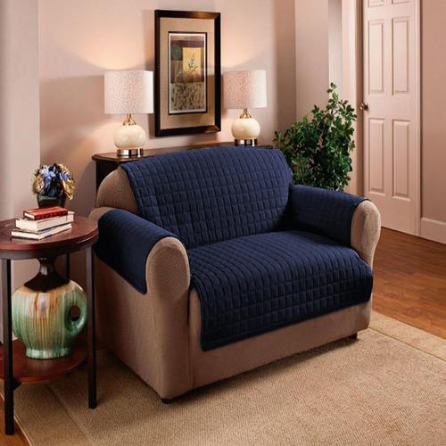Protector De Sofa 2 Puestos Doble Faz Azul Oscuro - Gris