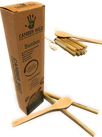 Bambú Reutilizable Paja Y Cuchara Conjunto Potable | Biodegr