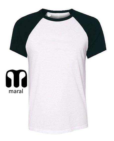 Remera Hombre Ranglan Entallada Combinada Premium Maral X 20