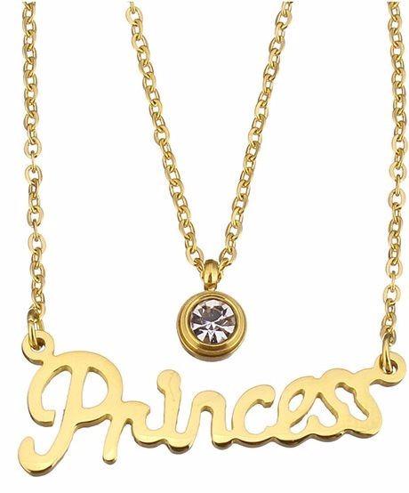 Cadena C Dije Princess C Piedra Swarosvki Dorado Acero