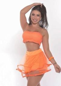 Kit 10 Top Cropped Mais Shorts Sainha Feminino Moda Carnaval
