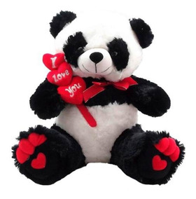 Urso De Pelúcia Panda Gigante Coração! Pronta Entrega! 60cm