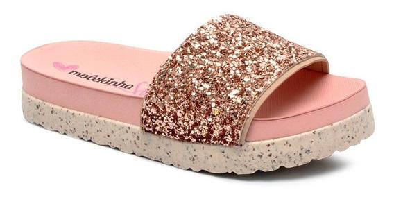 Chinelo Infantil Slide Molekinha 2320304 Glitter Ouro Rosado