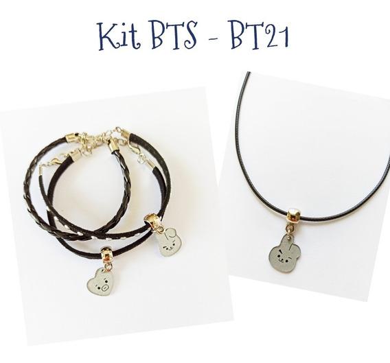 Kit Bts - Bts21 Colar E Pulseiras