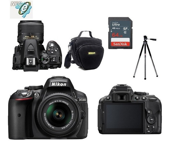 Nikon D5300 Com 18-55mm Vr Ii + Bolsa+tripé+64gb Nota Fiscal