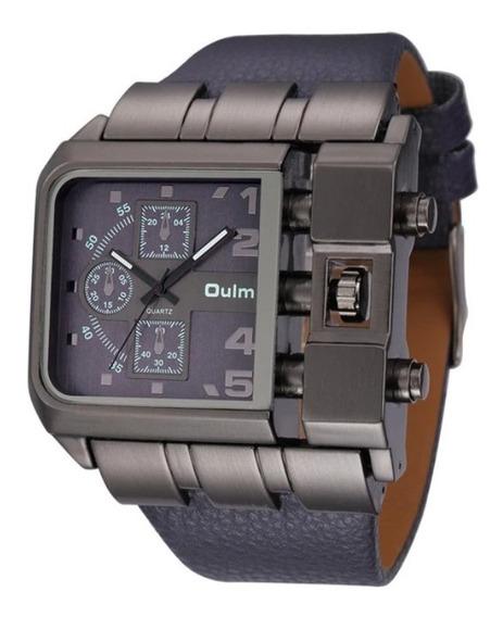 Relógio De Pulso Masculino Oulm Azul Escuro Aço Inox Couro